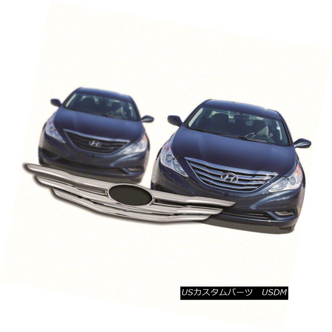 グリル Fits 2011-12 Hyundai Sonata-IWCGI97-Chrome Grille Overlay フィット2011-12現代ソナタ-IWCGI97  - クロムグリルオーバーレイ