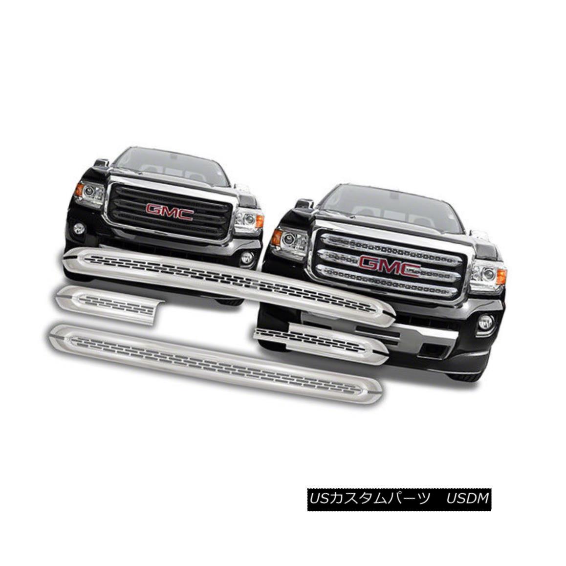 グリル IWCGI142 - Triple Chrome Plated ABS Grille Overlay - Fits 2015 GMC Canyon IWCGI142 - トリプルクロームメッキABSグリルオーバーレイ - 2015 GMCキャニオンにフィット