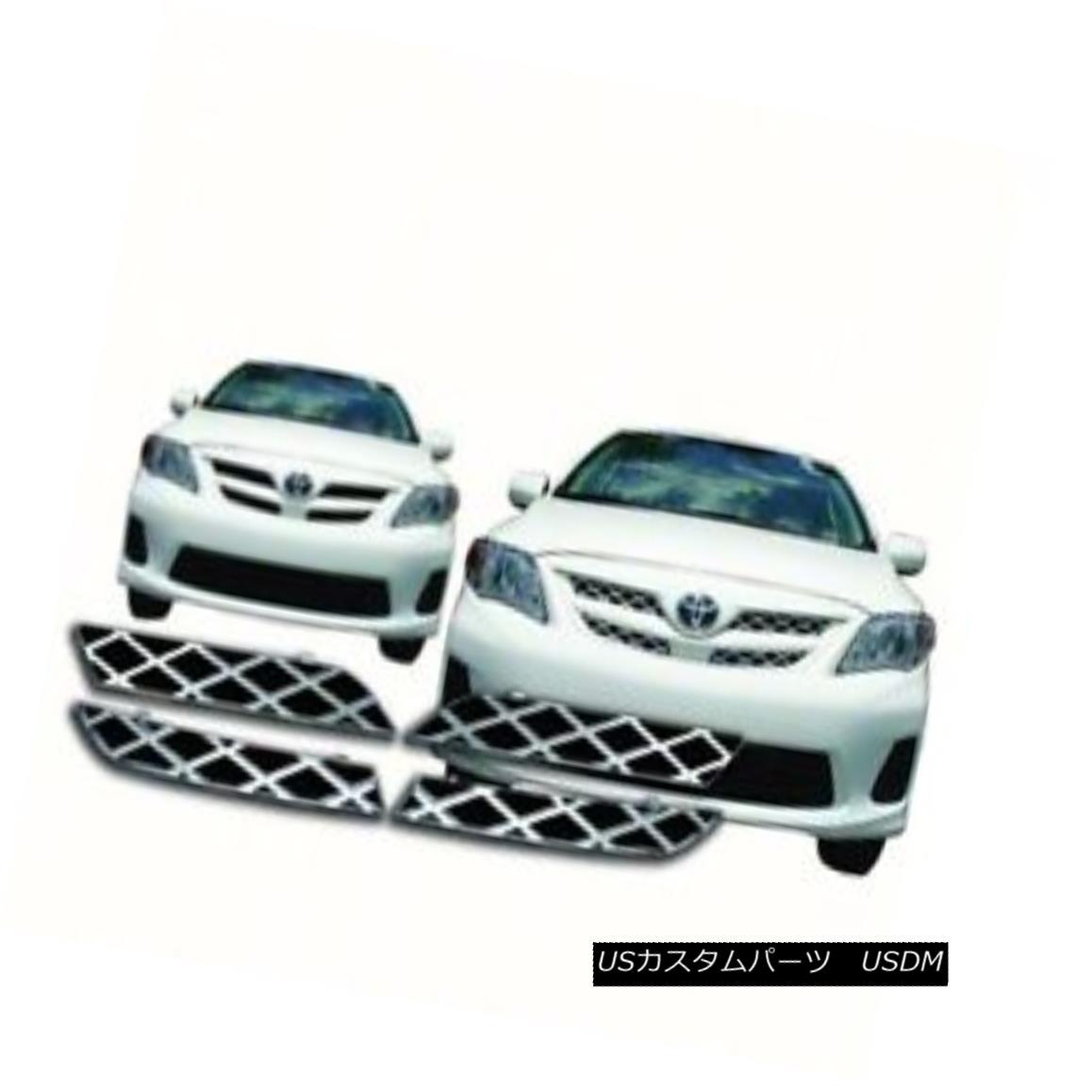 グリル IWCGI104 - Fits 2011-2013 Toyota Corolla Chrome Grille Overlay IWCGI104 - 2011-2013年に適合トヨタカローラクロームグリルオーバーレイ