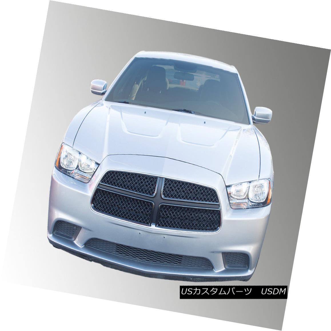 グリル Fits 11-14 DODGE CHARGER SE/SXT/SRT - Gloss Black Grille Insert/Overlay フィット11-14ダッジチャージャーSE / SXT / SRT - グロスブラックグリルインサート/オーバーレイ