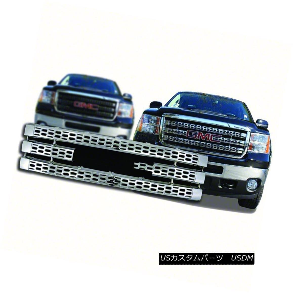 グリル Fits 2011-14 GMC Sierra 2500/3500-Chrome Grille Overlay-IWCGI90 フィット2011年 - 14年GMC Sierra 2500/3500-Chro meグリルオーバーレイ-IWCGI9 0