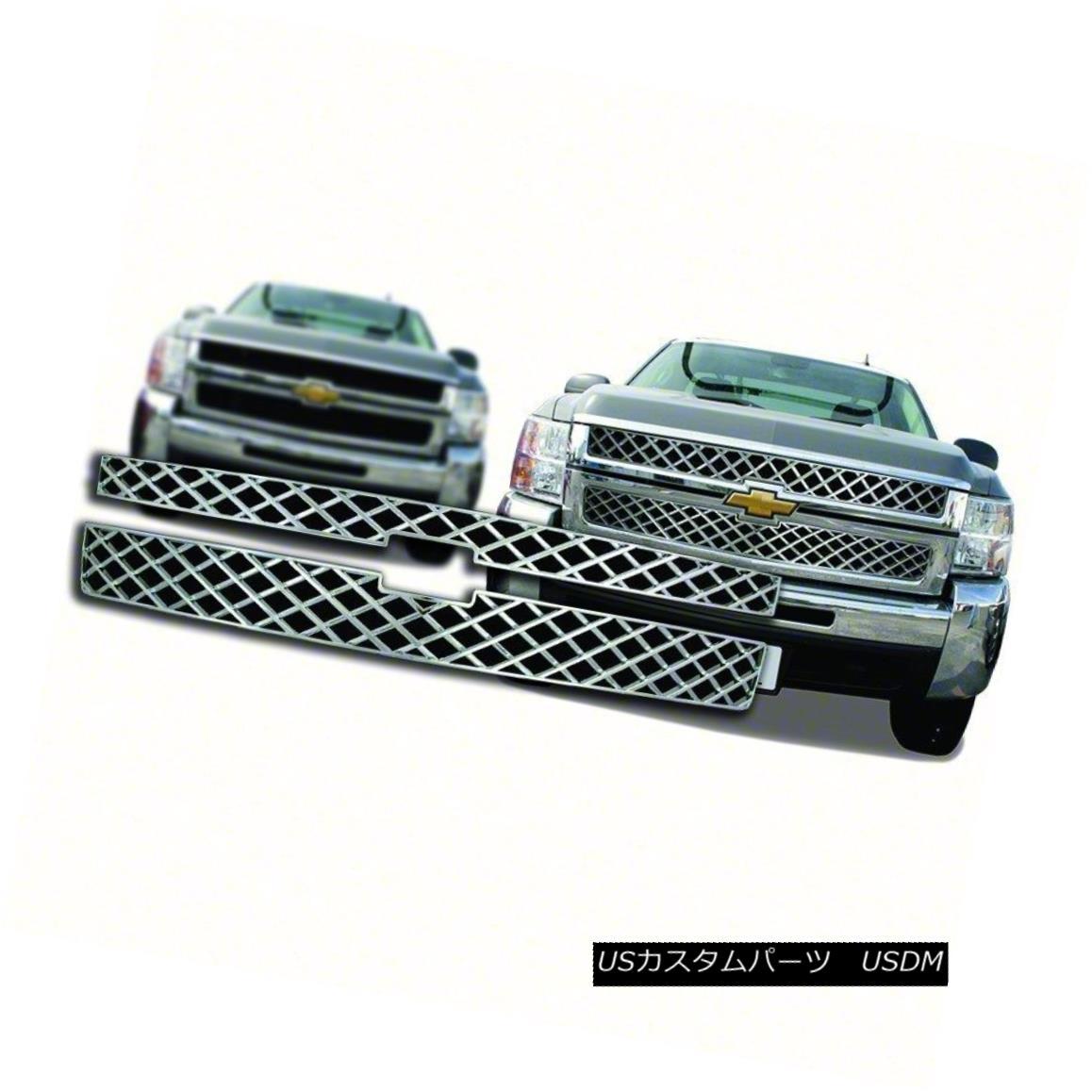 グリル Fits 2011-14 Chevy Silverado 2500-2pc Chrome Grille Insert-IWCGI92 適合2011-14 Chevy Silverado 2500-2pc Chrome Grille Insert-IWCGI92