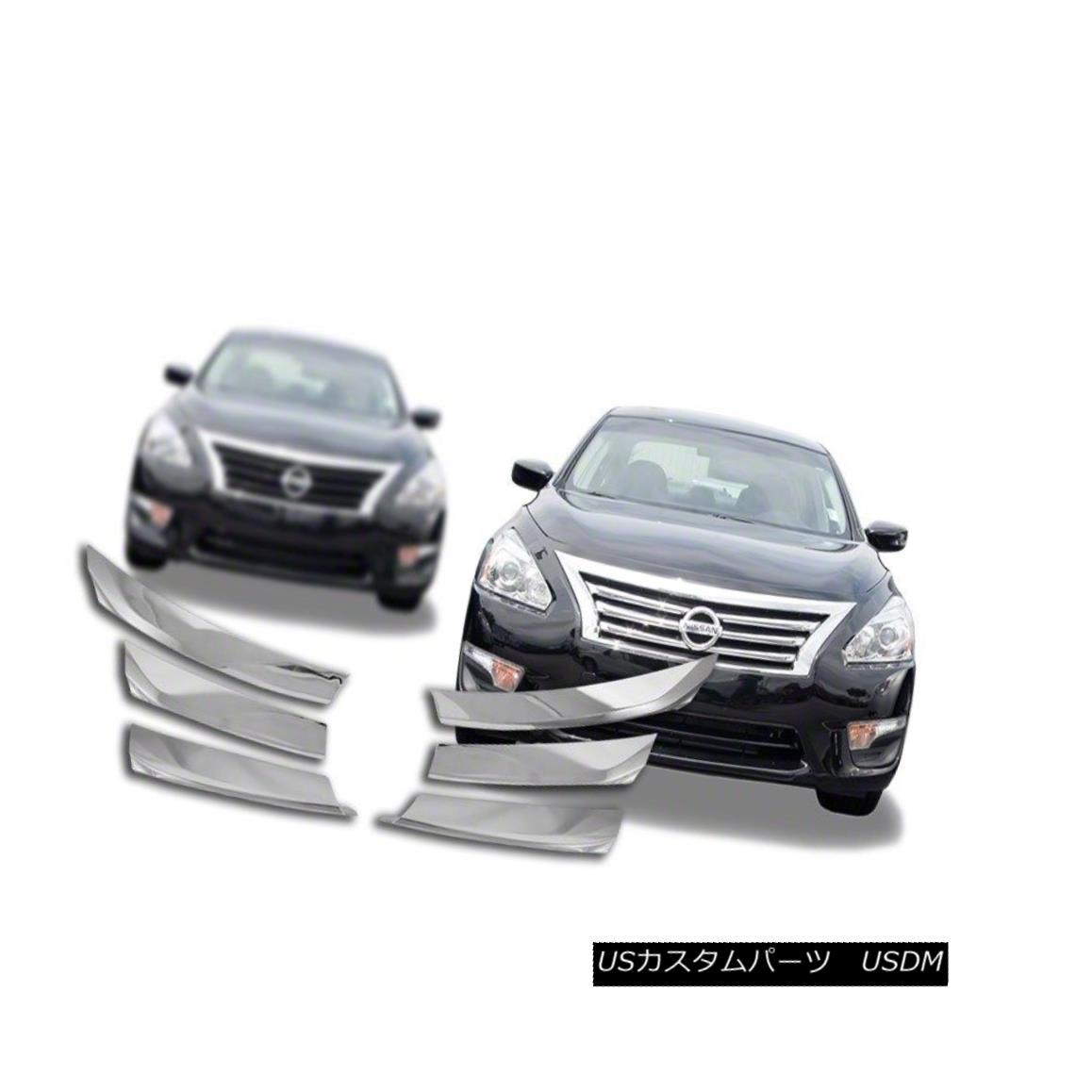 グリル Fits 13-15 Nissan Altima (2.5,3.5 Sedan ONLY)-Chrome Grille Overlay IWCGI114 フィット13-15日産アルティマ(2.5,3.5セダンのみ) - クロームグリルオーバーレイIWCGI114