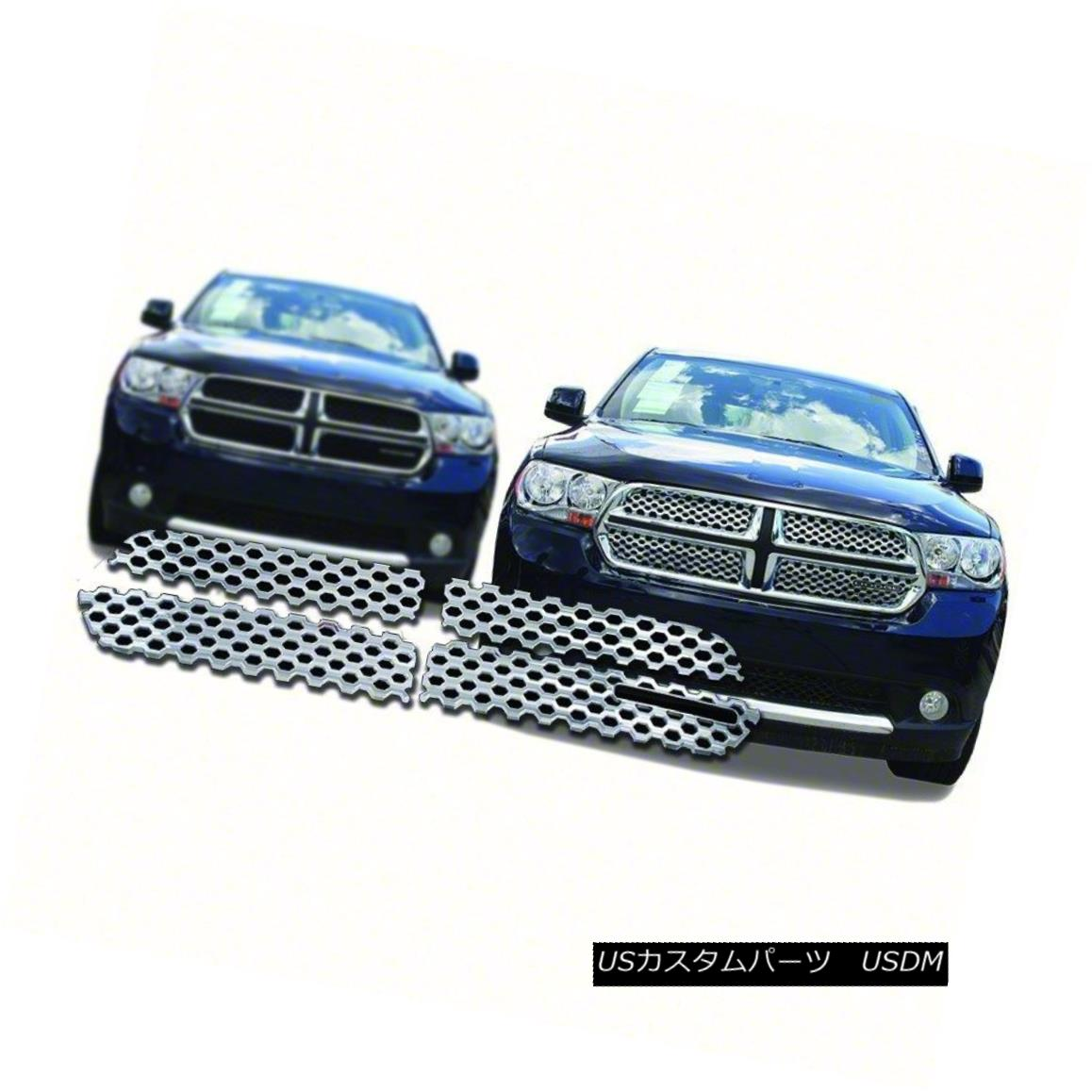 グリル Fits 11-13 Dodge Durango-4pc Chrome Grille Overlay-IWCGI94 11-13 Dodge Durango-4pcクロムグリルオーバーレイ-IWCGI9 4