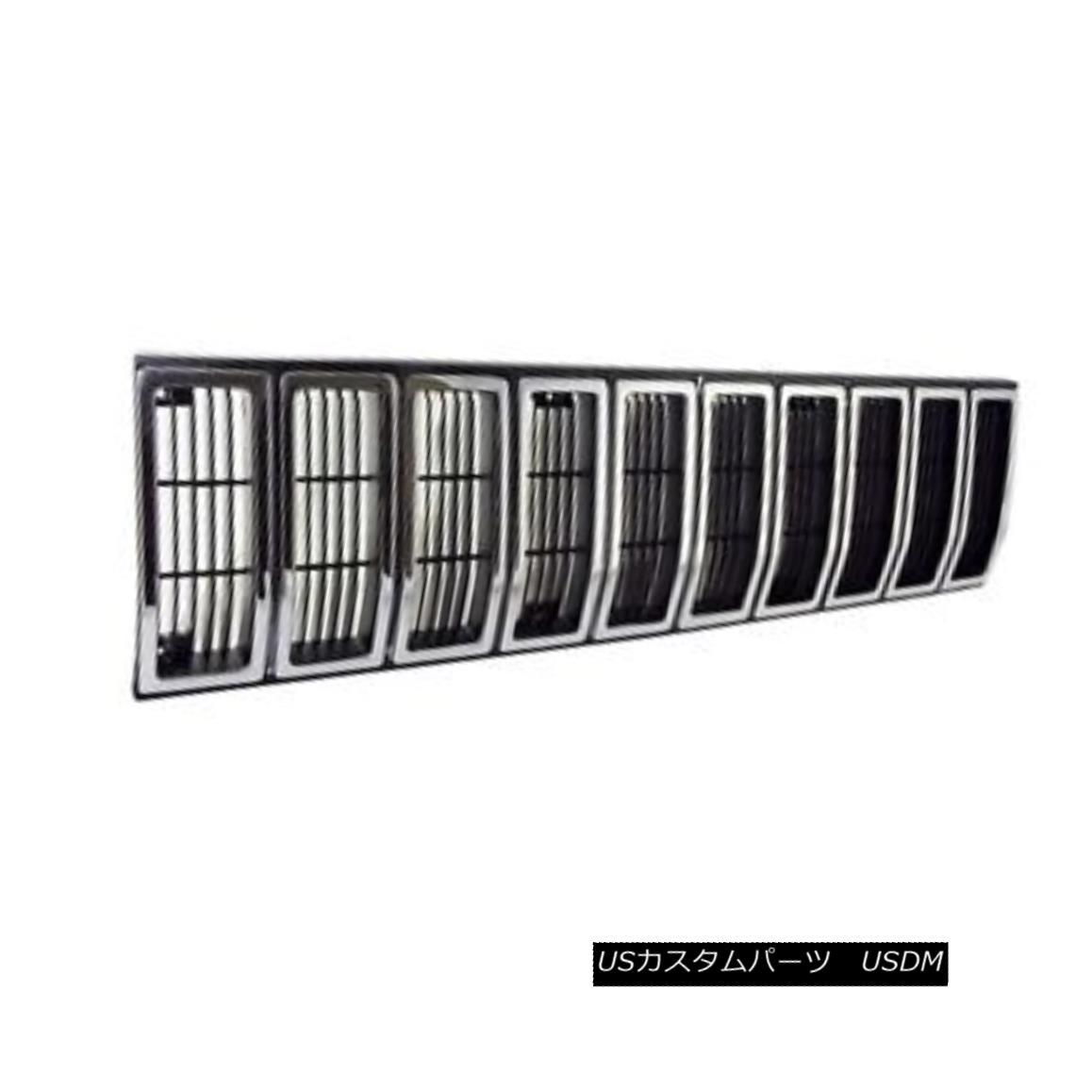 グリル Grille Insert, Black/Chrome; 84-87 Jeep Cherokee XJ グリルインサート、ブラック/クローム; 84-87ジープチェロキーXJ