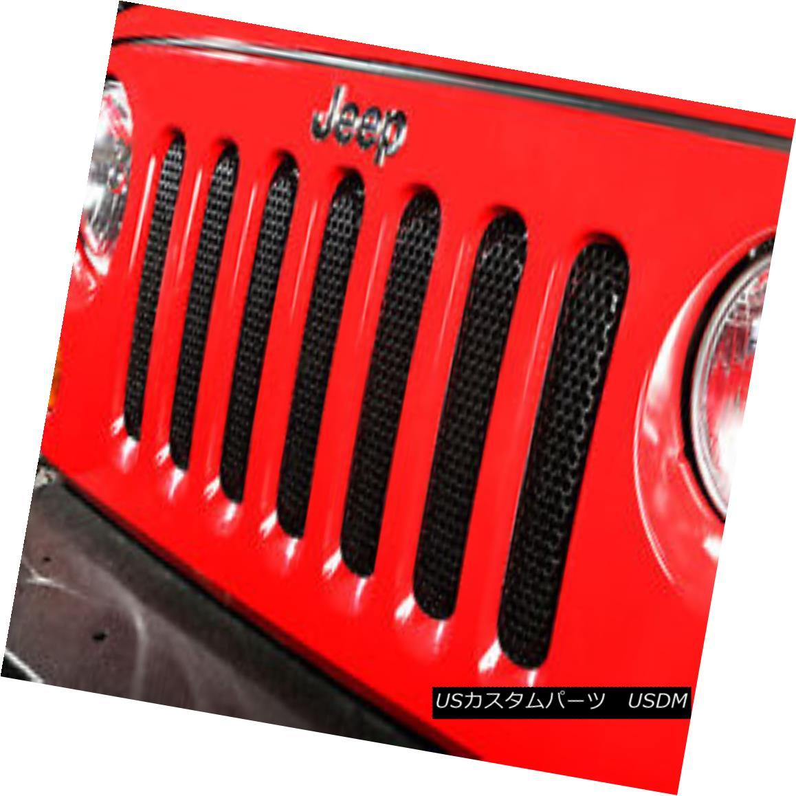 グリル Grille Insert, Black; 07-18 Jeep Wrangler グリルインサート、黒; 07-18ジープラングラー