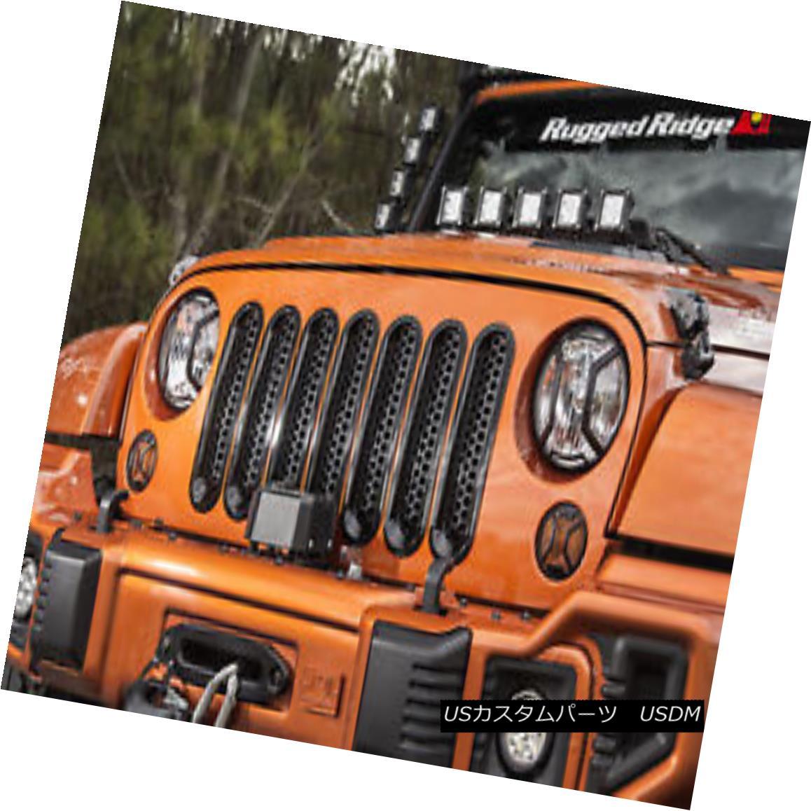 グリル Grille Inserts, Perforated, Black; 07-18 Jeep Wrangler グリルインサート、穿孔、黒; 07-18ジープラングラー
