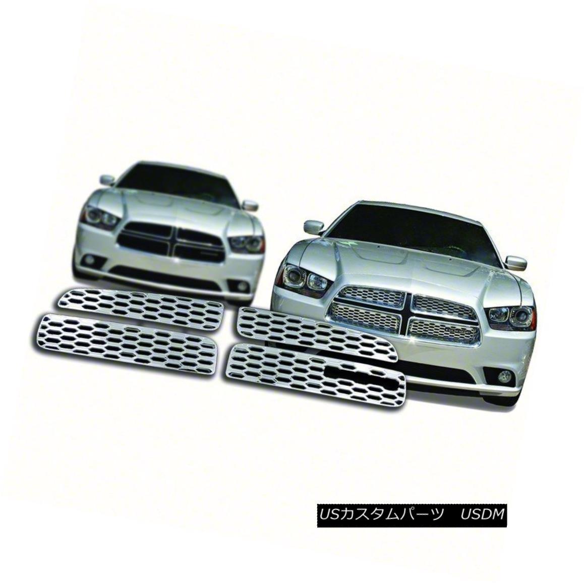 グリル Fits 12-14 Dodge Charger IWCGI95- 4pc Chrome Grille Overlay 12-14ダッジチャージャーに適合IWCGI95-4pcクロームグリルオーバーレイ