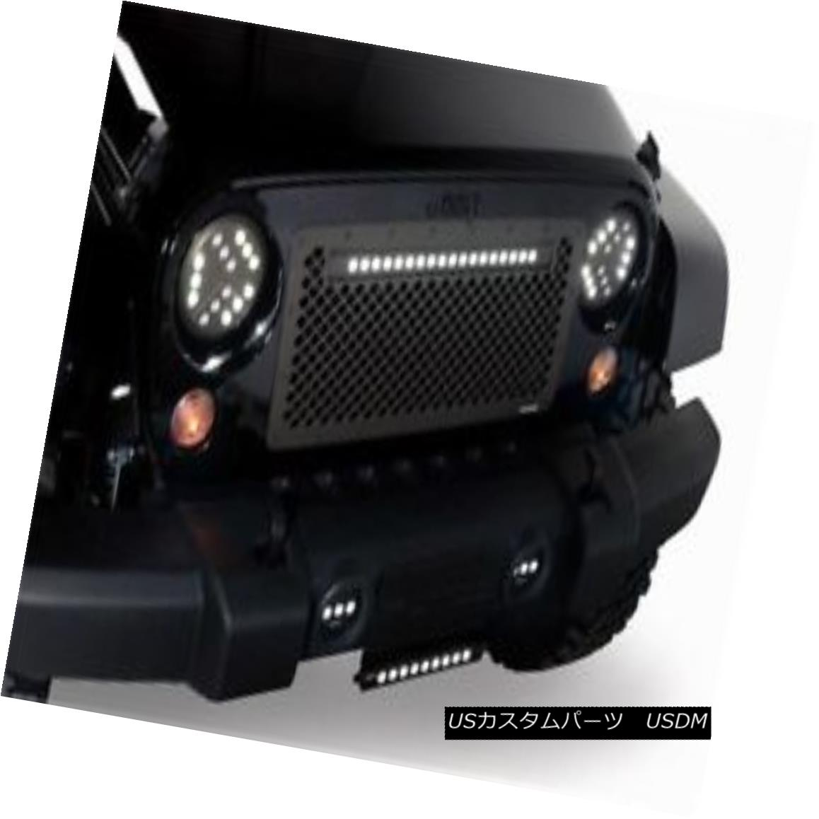 グリル Lighted Boss Grilles for 07-17 Jeep Wrangler - Cut to fit - (Lighted w/ 20