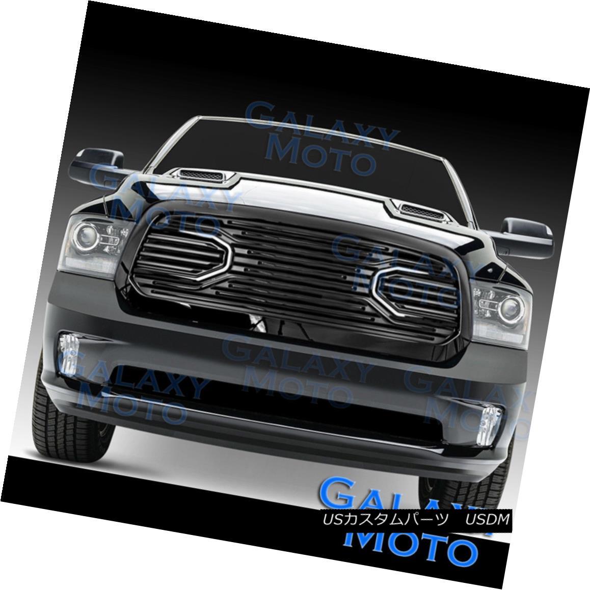 グリル 13-17 Dodge RAM Truck 1500 Front Hood Big Horn Black Replacement Grille+Shell 13-17ドッジRAMトラック1500フロントフードビッグホーンブラック交換グリル+シェル