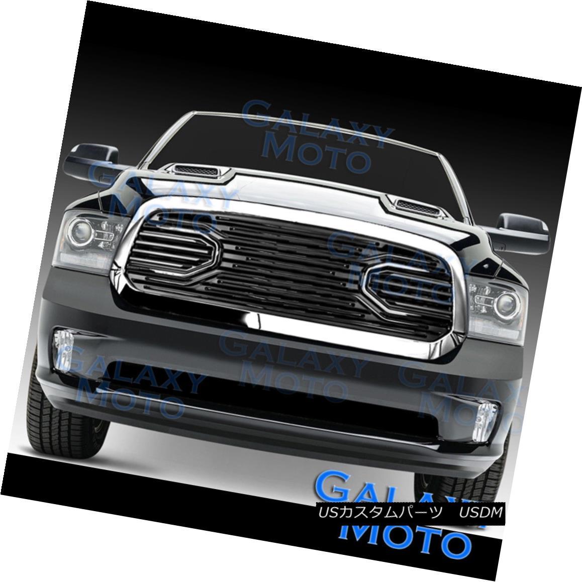 グリル 13-17 Dodge RAM 1500 Front Hood Big Horn Black Replacement Grille+Chrome Shell 13-17ドッジRAM 1500フロントフードビッグホーンブラック交換グリル+クロムシェル
