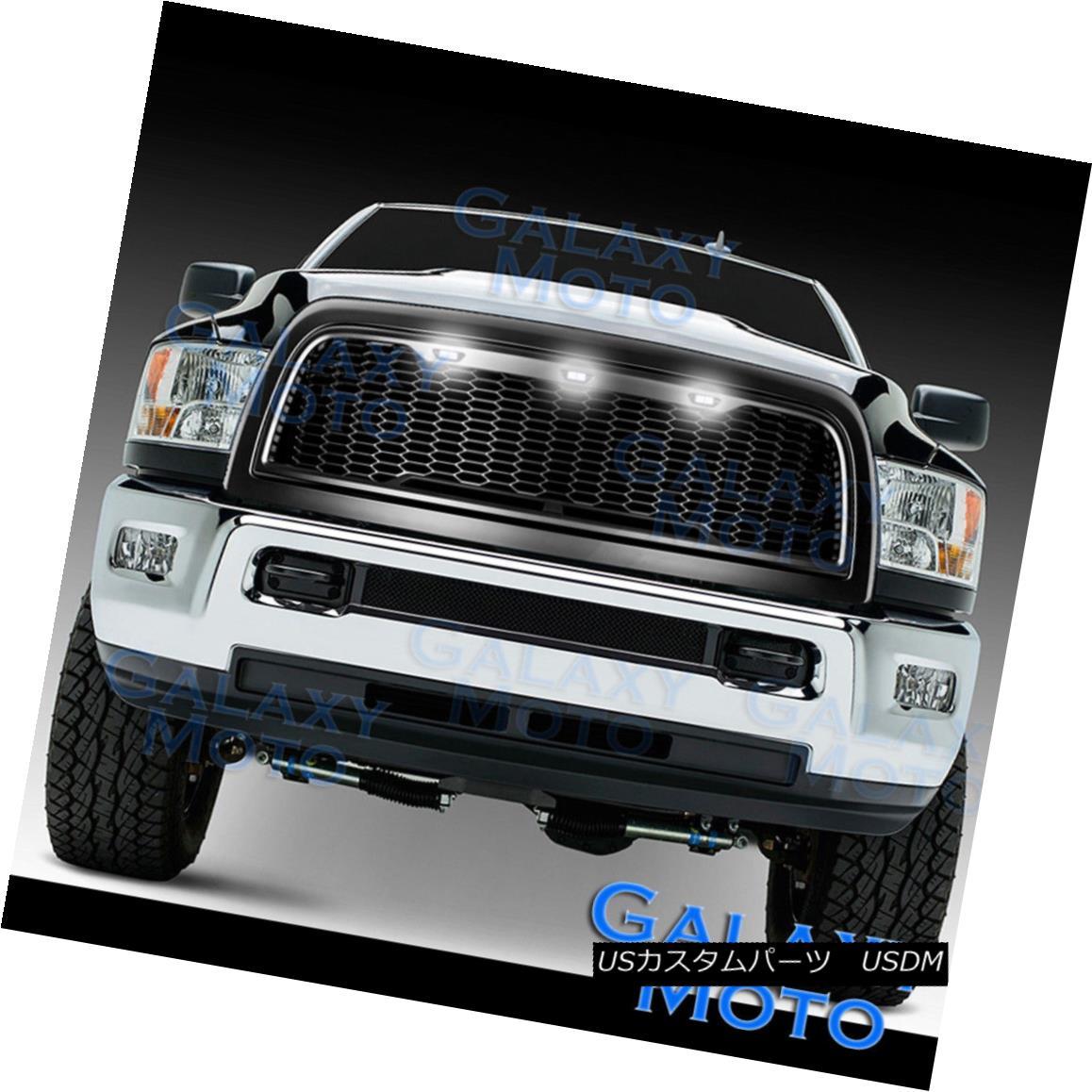 グリル 10-17 RAM 2500+3500 Raptor Matte Black Replacement Mesh Grille+Shell+White 3xLED 10-17 RAM 2500 + 3500ラプターマットブラック交換メッシュグリル+シェル+ W hite 3xLED
