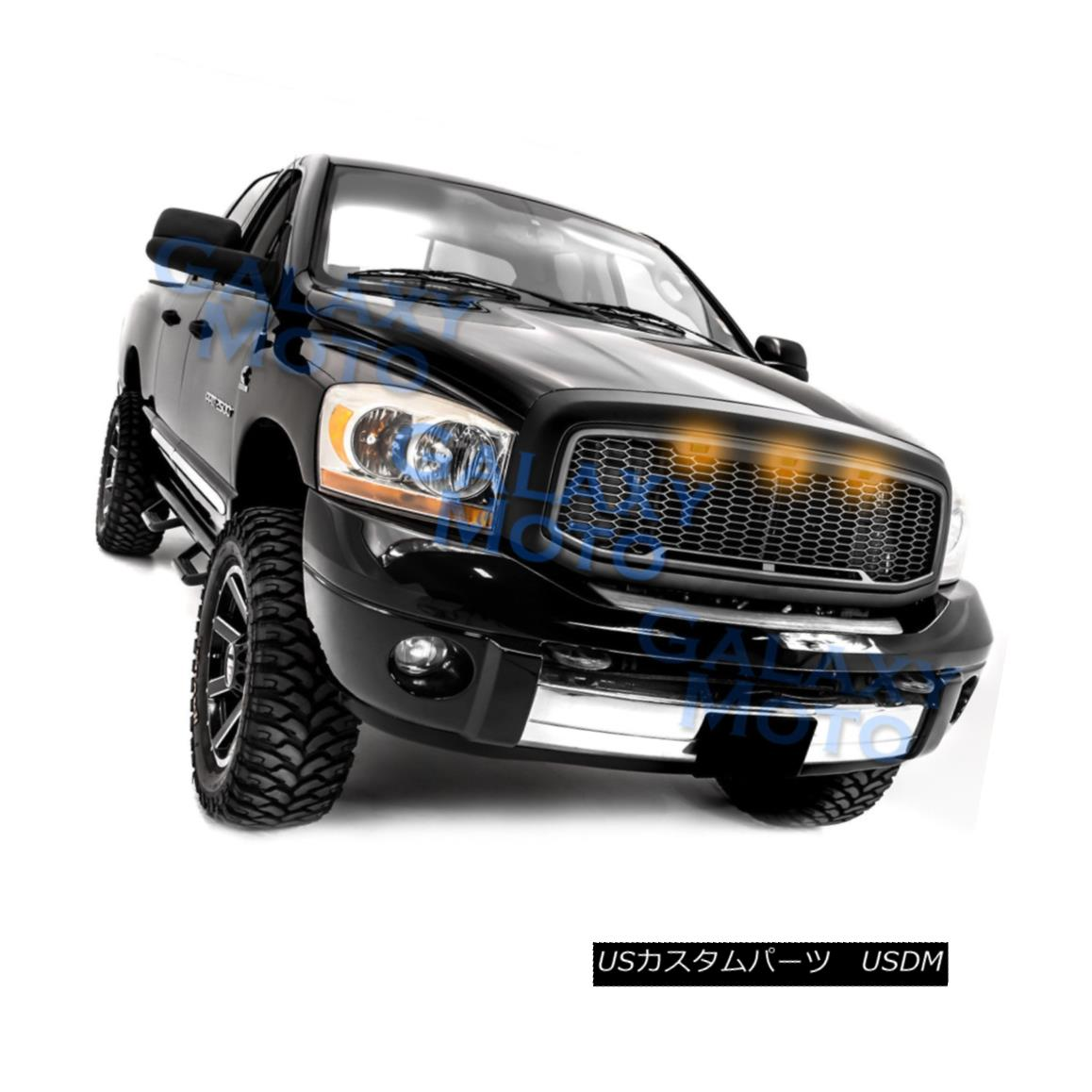 グリル 06-09 Dodge RAM Raptor Style Matte Black Replacement Mesh Grille+Shell+Amber LED 06-09ダッジRAMラプタースタイルマットブラック交換メッシュグリル+シェル+ mber LED