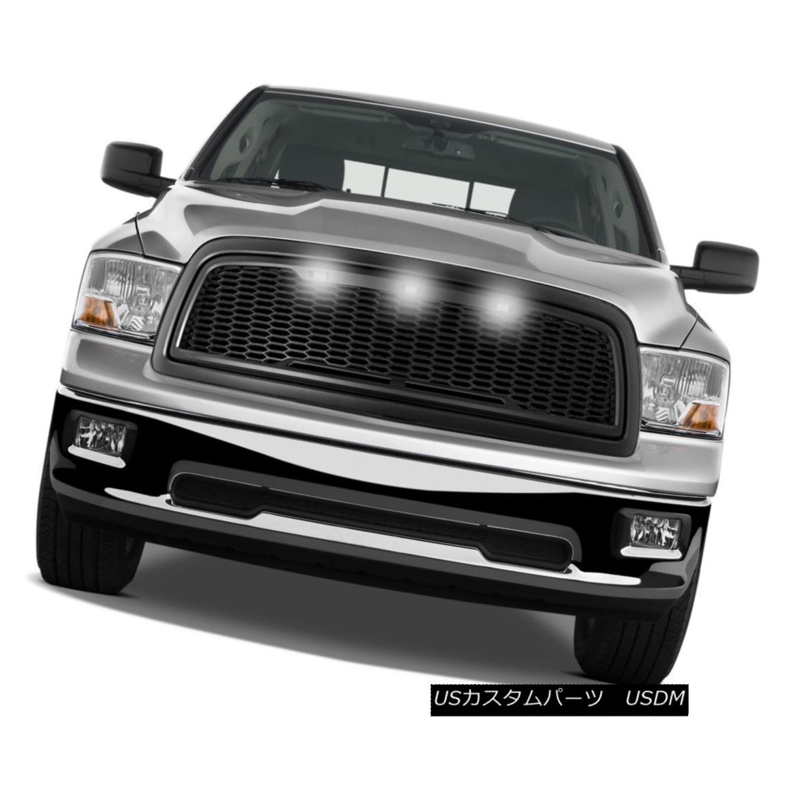 グリル 09-12 Dodge RAM Raptor Style Matte Black Replacement Mesh Grille+Shell+White LED 09-12ダッジRAMラプタースタイルマットブラック交換メッシュグリル+シェル+ W hite LED
