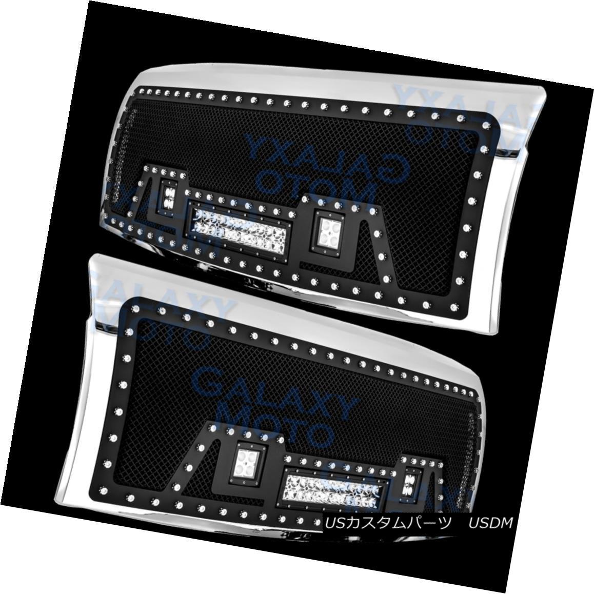 グリル 09-14 Ford F150 Rivet Black SS Mesh Grille+Chrome Shell W/ 2x LED+LED Light Bar 09-14 Ford F150リベットブラックSSメッシュグリル+クロームシェルW / 2x LED + LEDライトバー