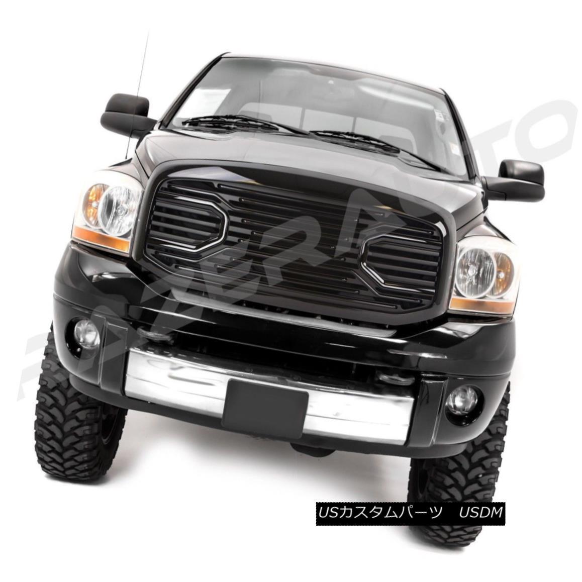 グリル 06-08 Dodge Ram 1500+06-09 Ram 2500+3500 Big Horn Black Packaged Grille+Shell 06-08ダッジラム1500 + 06-09ラム2500 + 3500ビッグホーンブラックパッケージグリル+シェル