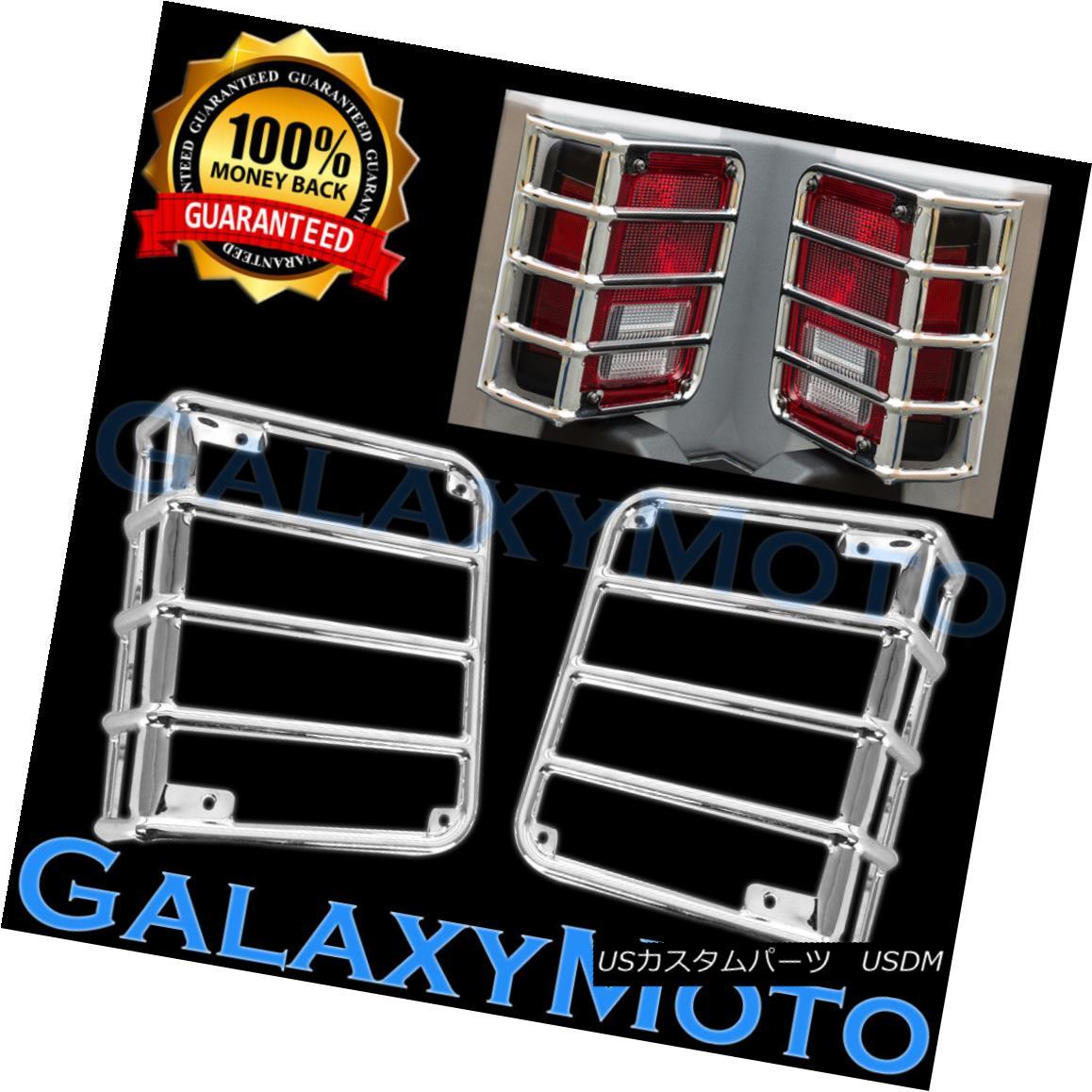 グリル Chrome Stainless Euro Taillight Lamp Guard Cover fit 07-17 Jeep Wrangler JK クロムステンレスユーロテールライトランプガードカバーフィット07-17ジープラングラーJK