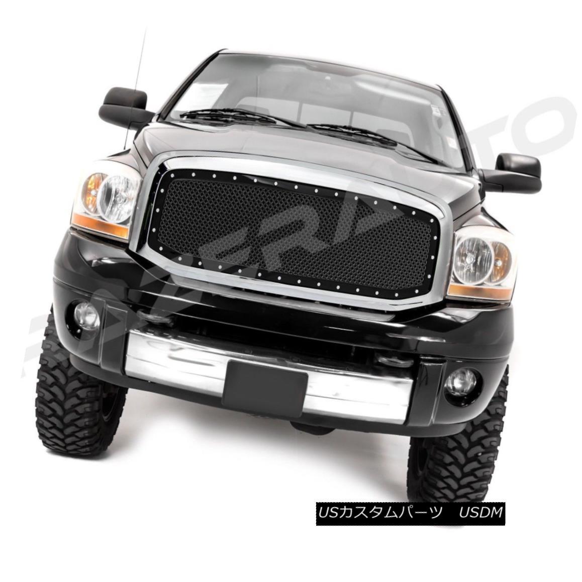 グリル 06-08 Dodge Ram 1500+2500+3500 Black Packaged Mesh Grille+Rivet+Chrome Shell 06-08 Dodge Ram 1500 + 2500 + 3500ブラックパッケージメッシュグリル+リベット+ C hromeシェル