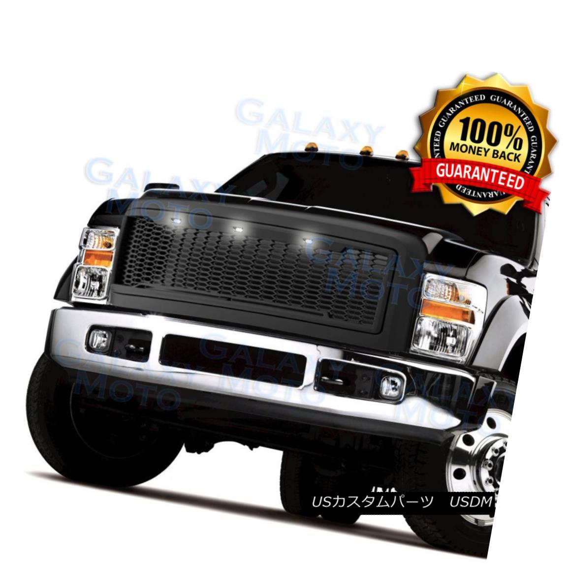 グリル 08-10 Ford Super Duty Raptor Matte Black Front Hood Mesh Grille+Shell+White LED 08-10フォードスーパーデューティラプターマットブラックフロントフードメッシュグリル+シェル+ W hite LED