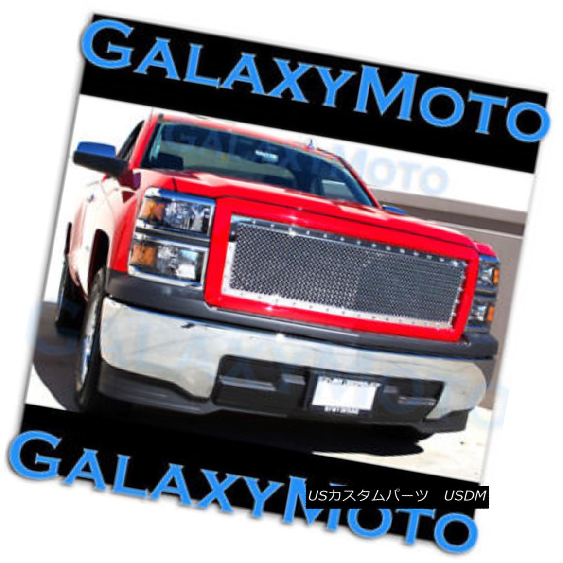 グリル 14-15 Chevy Silverado 1500 Chrome Rivet Mesh Grille+Victory Red Outer Shell 2015 14-15シボレーシルバラード1500クロムリベットメッシュグリル+ビクトリーレッドアウターシェル2015