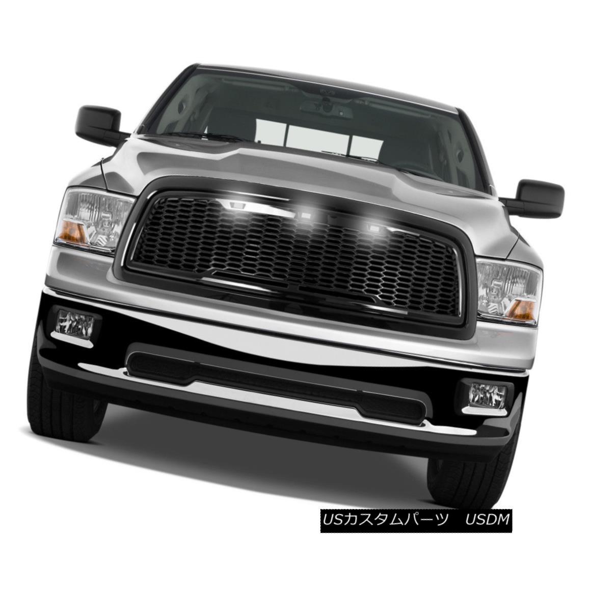 グリル 09-12 Dodge RAM Raptor Style Gloss Black Replacement Mesh Grille+Shell+White LED 09-12ダッジRAMラプタースタイルグロスブラック交換メッシュグリル+シェル+ W hite LED