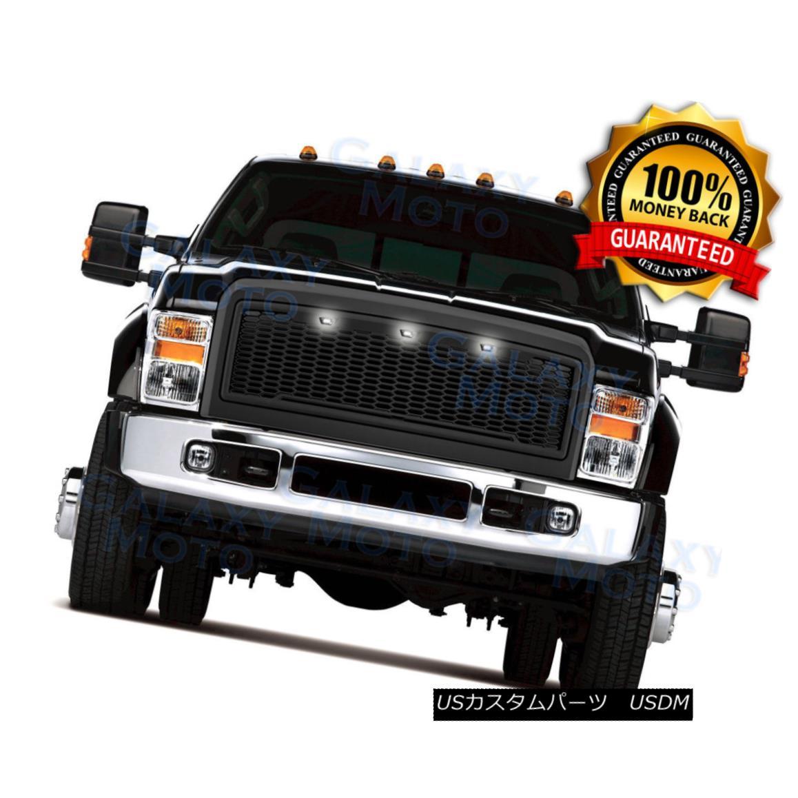 グリル 08-10 Ford Super Duty Raptor Matte Black Package Mesh Grille+Shell+White 3x LED 08-10フォードスーパーデューティラプターマットブラックパッケージメッシュグリル+シェル+ W hite 3x LED