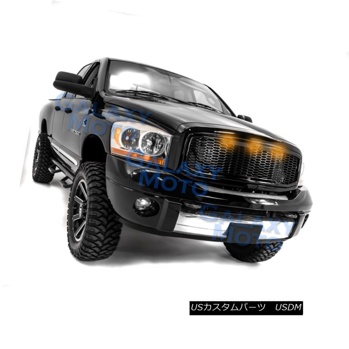 グリル 06-09 Dodge RAM Raptor Style Gloss Black Replacement Mesh Grille+Shell+Amber LED 06-09ダッジRAMラプタースタイルグロスブラック交換メッシュグリル+シェル+ A mber LED
