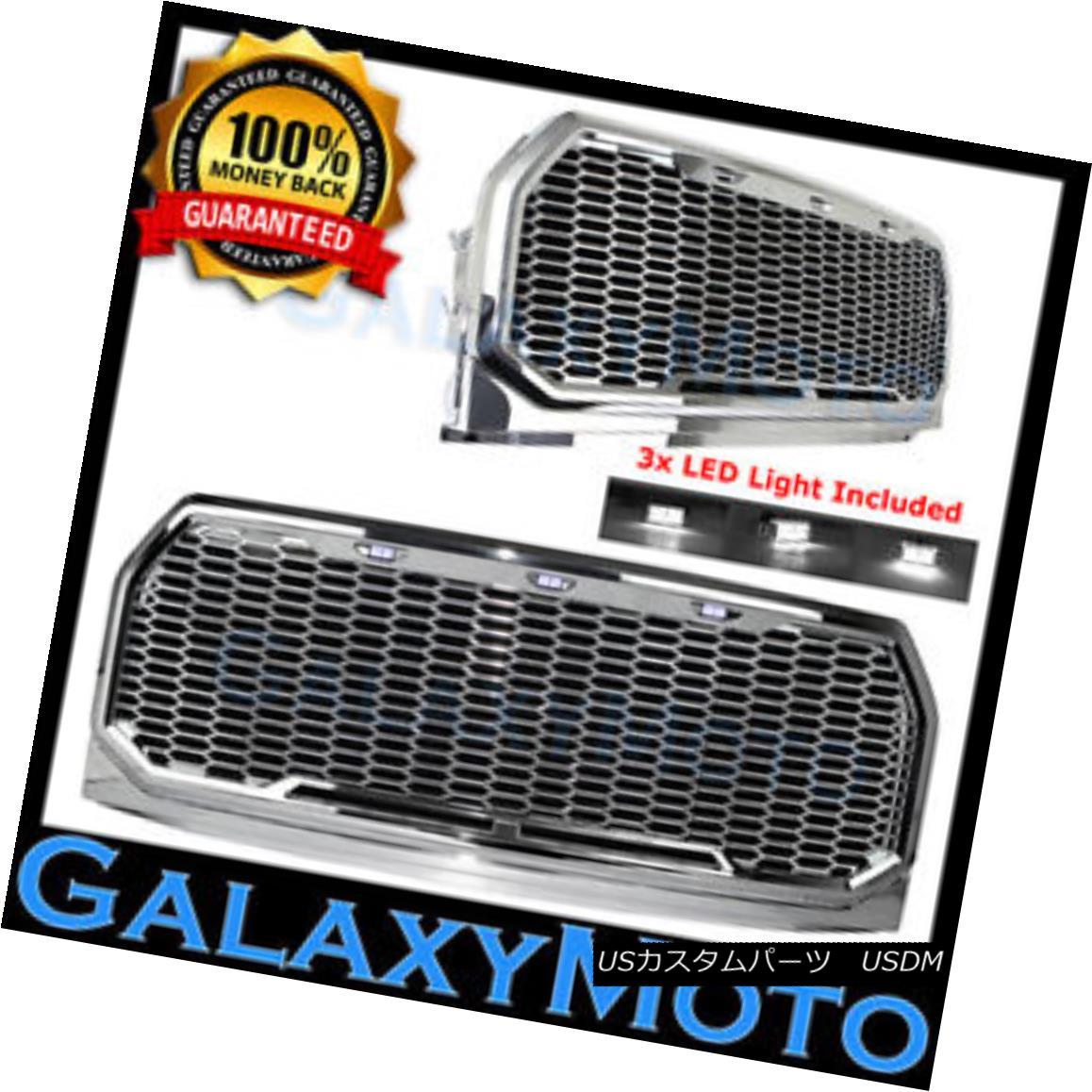 グリル 15-17 Ford F150 Raptor Chrome Front Hood Mesh Grille+Shell+White 3x LED Light 15-17フォードF150ラプタークロームフロントフードメッシュグリル+シェル+ W hite 3x LEDライト