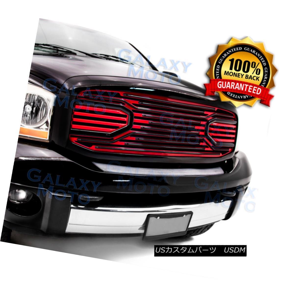グリル 06-08 Dodge Ram 1500+2500+3500 Limited Big Horn Black+Red Packaged Grille+Shell 06-08ダッジラム1500 + 2500 + 3500限定ビッグホーンブラック+レッドパッケージグリル+シェル