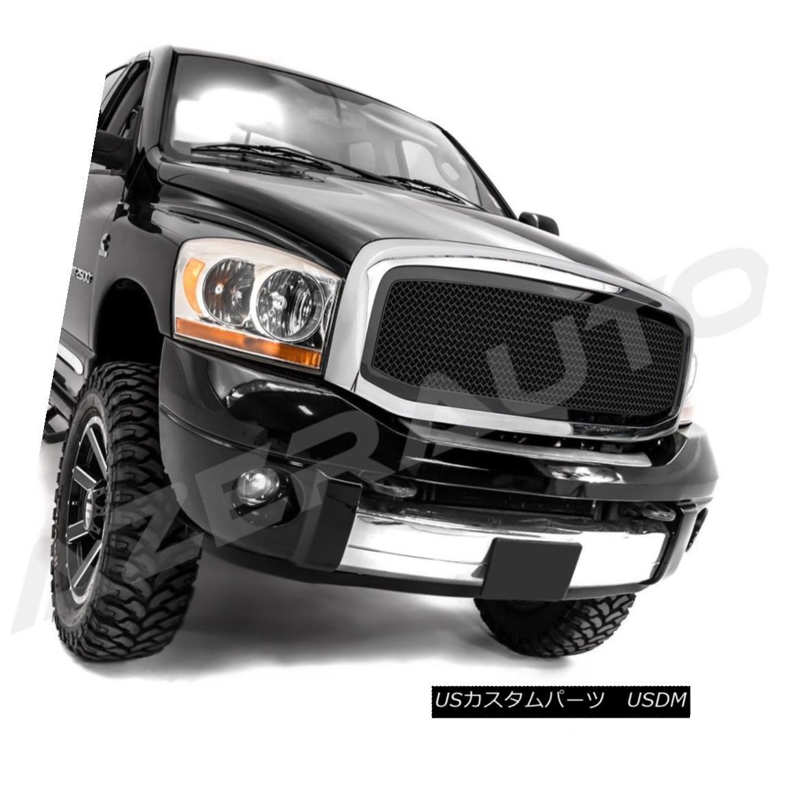 グリル 06-08 Dodge Ram 1500+06-09 RAM 2500+3500 Black Packaged Mesh Grille+Chrome Shell 06-08ダッジラム1500 + 06-09 RAM 2500 + 3500ブラックパッケージメッシュグリル+クロムシェル