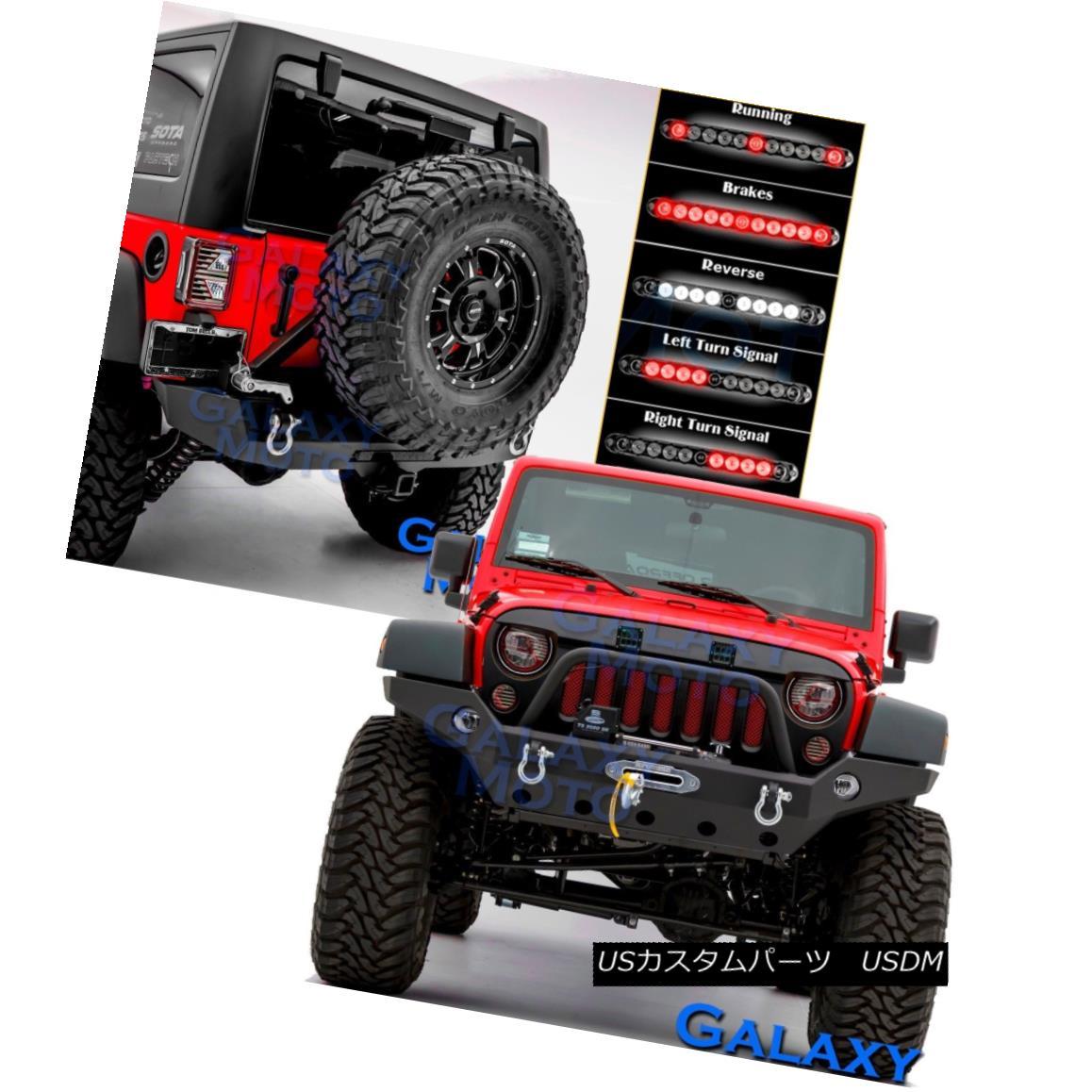グリル Front+Rear Bumper+3rd LED Brake Light+Tire Carrier fit 07-18 Jeep JK Wrangler フロント+リアバンパー+ 3番LEDブレーキライト+タイヤキャリアフィット07-18ジープJKラングラー