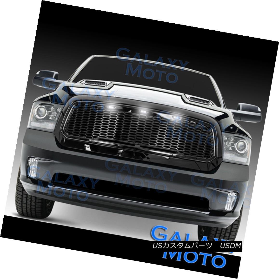 グリル 13-18 Dodge RAM Raptor Style Gloss Black Replacement Mesh Grille+Shell+White LED 13-18ドッジRAMラプタースタイルグロスブラック交換メッシュグリル+シェル+ W hite LED