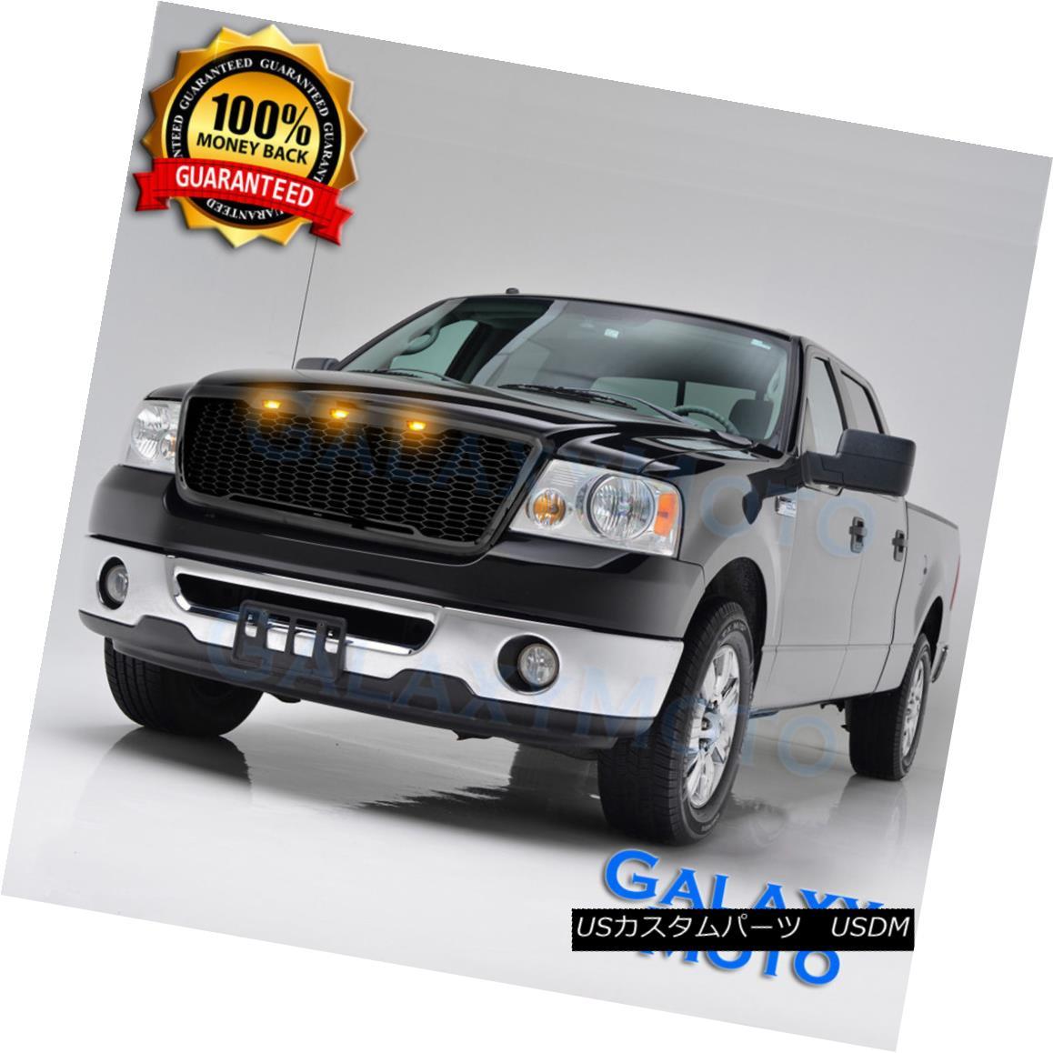 グリル 04-08 Ford F150 Raptor Style Gloss Black Package Mesh Grille+Shell+Amber 3x LED 04-08 Ford F150ラプタースタイルグロスブラックパッケージメッシュグリル+シェル+ A mber 3x LED