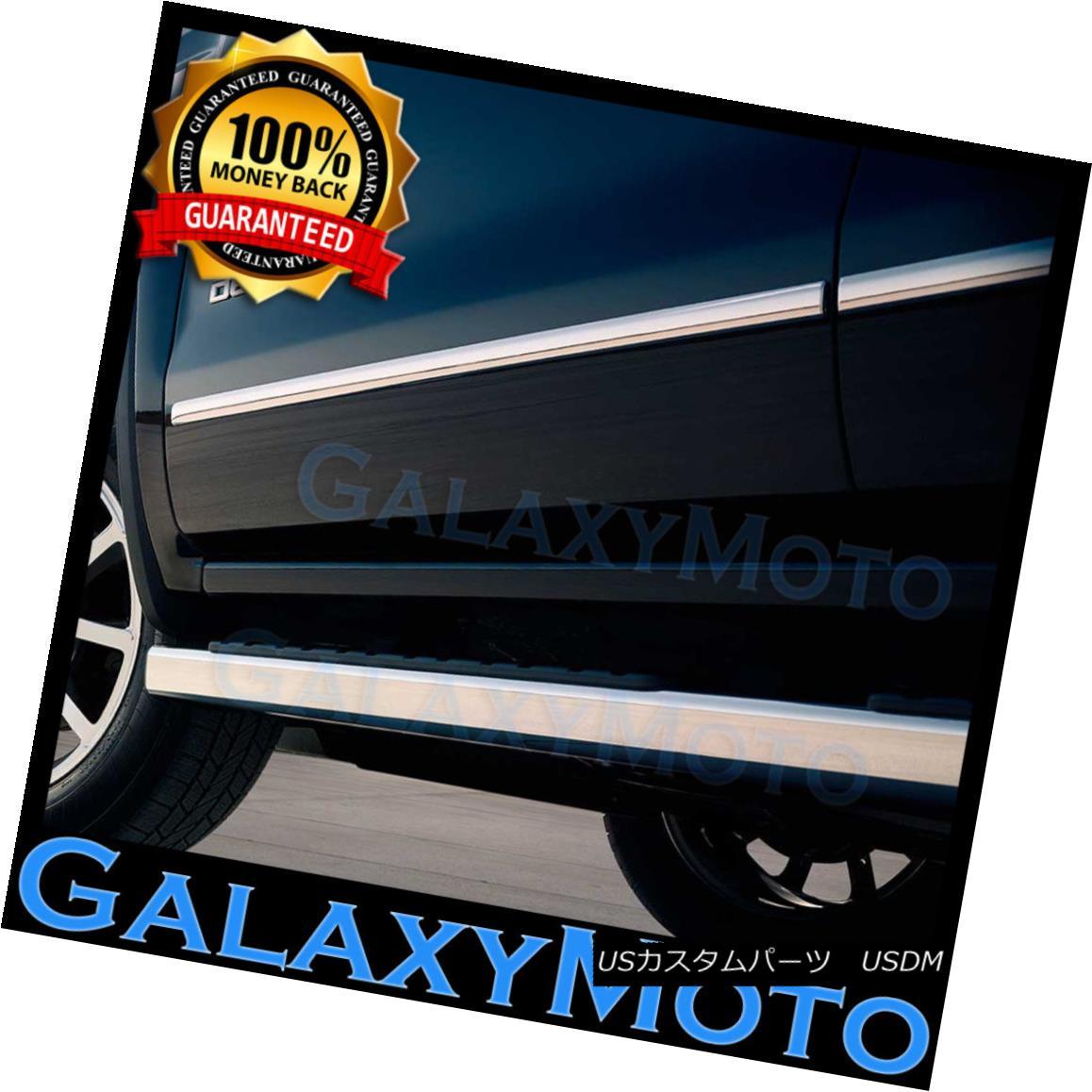 グリル 07-13 Chevy Silverado 1500 Crew Cab 4 Door Chrome Body Side Molding Front+Rear 07-13 Chevy Silverado 1500クルーキャブ4ドアクロームボディサイドモールディングフロント+リア