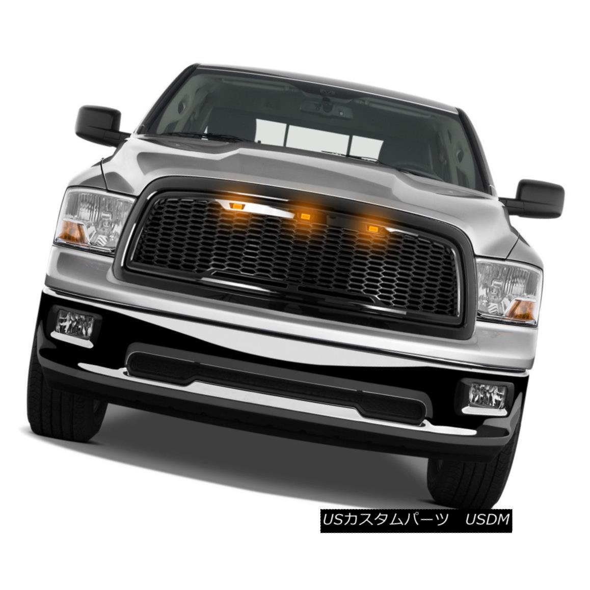 グリル 09-12 Dodge RAM Raptor Style Gloss Black Replacement Mesh Grille+Shell+Amber LED 09-12ダッジRAMラプタースタイルグロスブラック交換メッシュグリル+シェル+ A mber LED