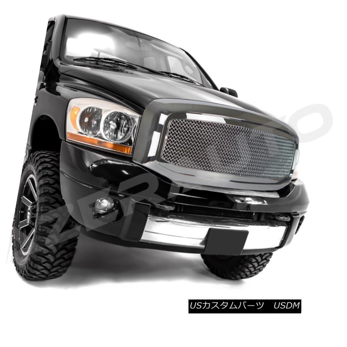 グリル 06-08 Dodge Ram 1500+06-09 Dodge Ram 2500+3500 Chrome Packaged Mesh Grille+Shell 06-08 Dodge Ram 1500 + 06-09 Dodge Ram 2500 + 3500 Chromeパッケージメッシュグリル+シェル
