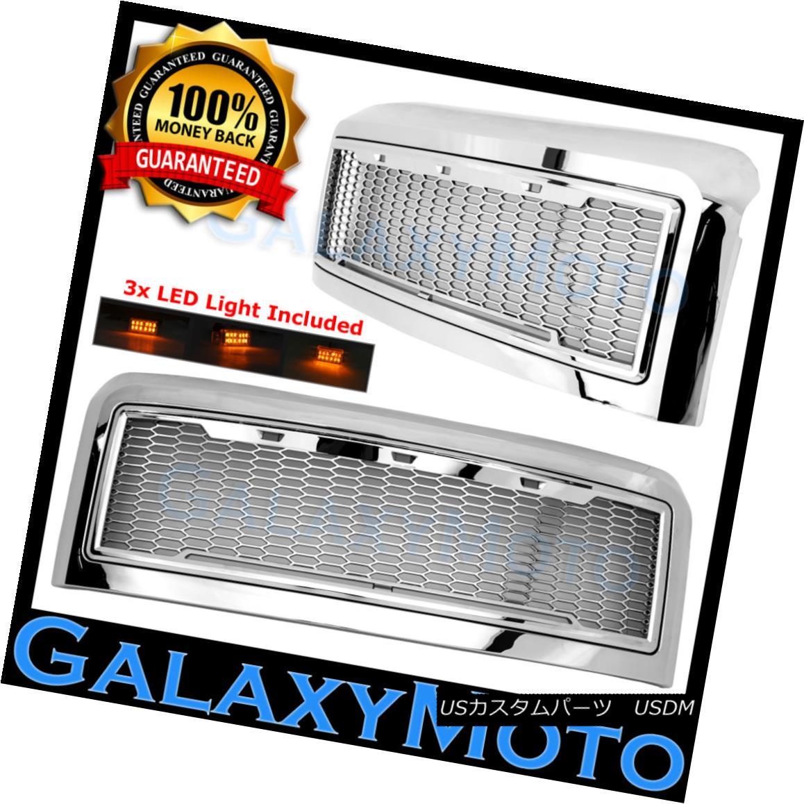 グリル 08-10 Ford Super Duty Raptor Chrome Front Hood Mesh Grille+Shell+Amber 3x LED 08-10フォードスーパーデューティラプタークロームフロントフードメッシュグリル+シェル+ mber 3x LED