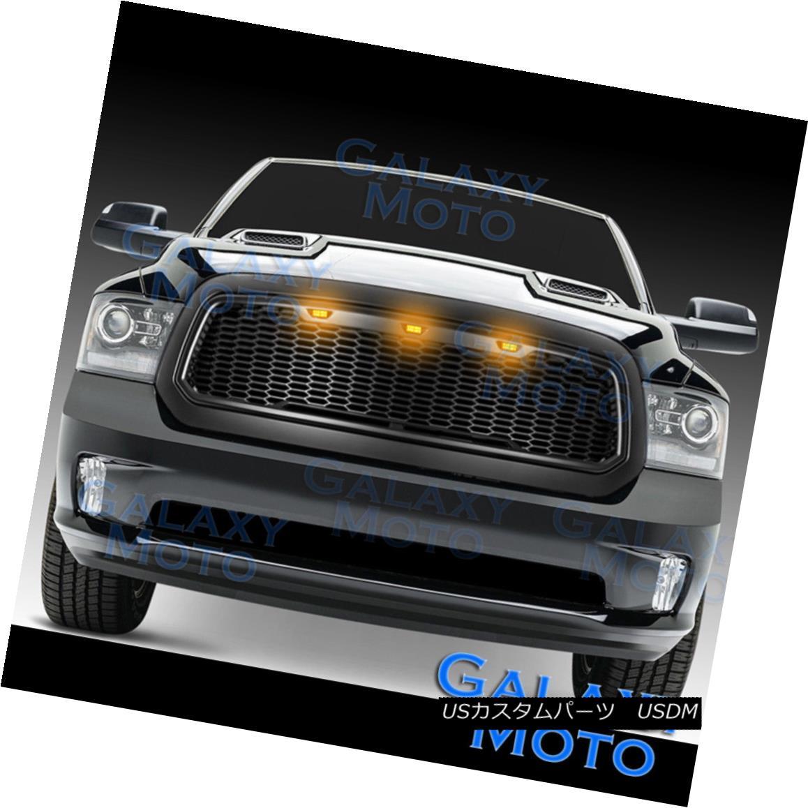 グリル 13-17 Dodge RAM Raptor Style Matte Black Replacement Mesh Grille+Shell+Amber LED 13-17ドッジRAMラプタースタイルマットブラック交換メッシュグリル+シェル+ A mber LED