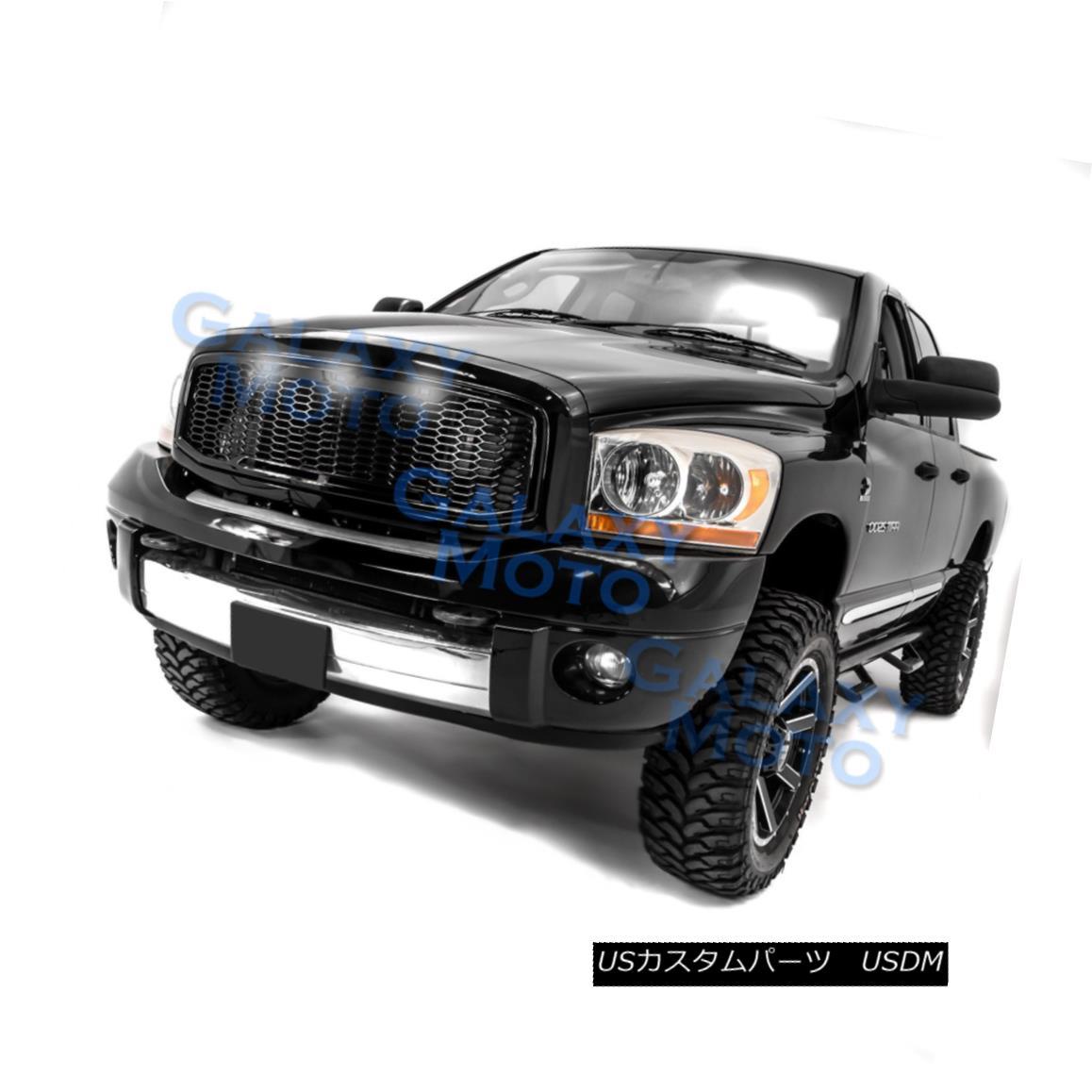 グリル 06-09 Dodge RAM Raptor Style Gloss Black Replacement Mesh Grille+Shell+White LED 06-09ドッジRAMラプタースタイルグロスブラック交換メッシュグリル+シェル+ W hite LED