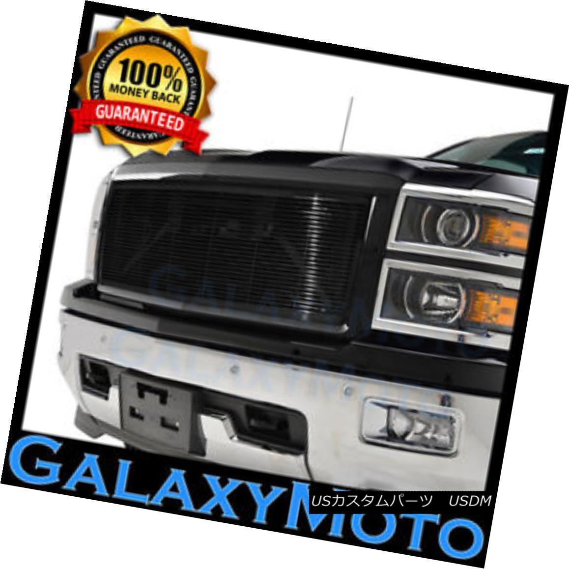 グリル 14-15 Chevy Silverado 1500 Black Full Factory Replacement Billet Grille Shell 14-15 Chevy Silverado 1500ブラックフル工場代替ビレットグリルシェル