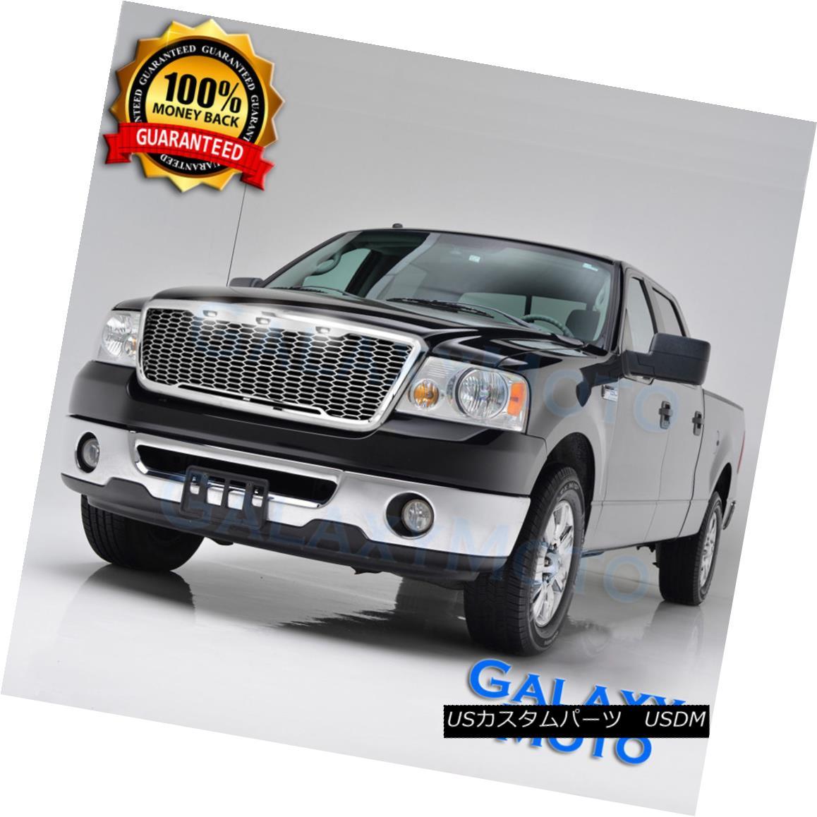 グリル 04-08 Ford F150 Raptor Style Chrome Package Mesh Grille+Shell+White 3x LED light 04-08 Ford F150ラプトルスタイルクロームパッケージメッシュグリル+シェル+ W hite 3x LEDライト