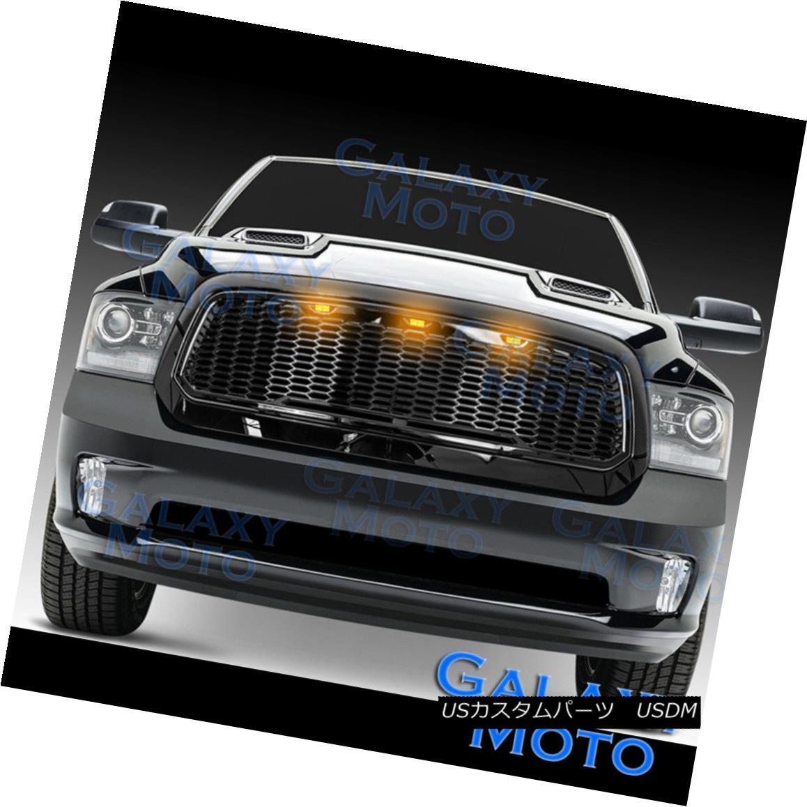 グリル 13-17 Dodge RAM Raptor Style Gloss Black Replacement Mesh Grille+Shell+Amber LED 13-17ドッジRAMラプタースタイルグロスブラック交換メッシュグリル+シェル+ A mber LED