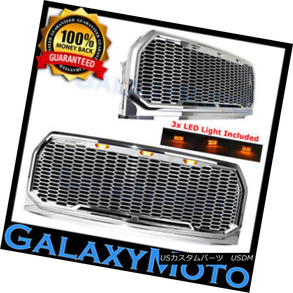 グリル 15-17 Ford F150 Raptor Chrome Front Hood Replacement Mesh Grille+Shell+LED Light 15-17フォードF150ラプタークロームフロントフード交換メッシュグリル+シェル+ L EDライト