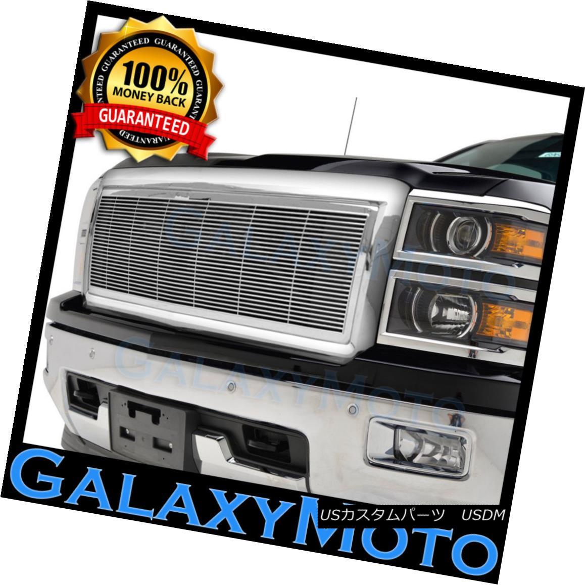 グリル 14-15 Chevy Silverado 1500 Chrome Full Factory Replacement Billet Grille Shell 14-15 Chevy Silverado 1500 Chrome完全な工場補修用ビレットグリルシェル