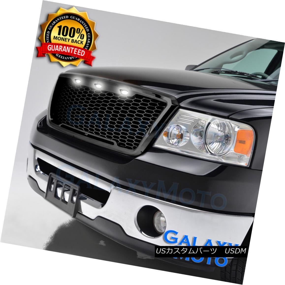 グリル 04-08 Ford hite F150 Raptor Style LED Gloss W Black Package Mesh Grille+Shell+White 3x LED 04-08 Ford F150ラプタースタイルグロスブラックパッケージメッシュグリル+シェル+ W hite 3x LED, 防犯百貨 ホームプラス:3cf65c0a --- knbufm.com