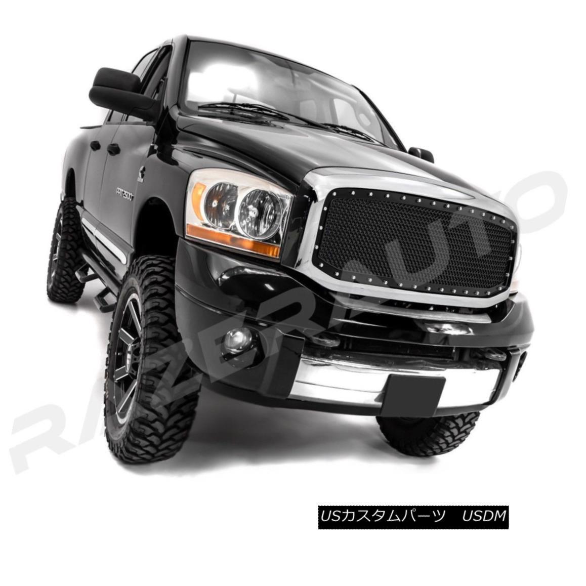グリル 06-09 Dodge RAM 2500+3500 Front Hood Black Mesh Grille+Rivet+Chrome Outer Shell 06-09ダッジRAM 2500 + 3500フロントフードブラックメッシュグリル+リベット+ C hromeアウターシェル