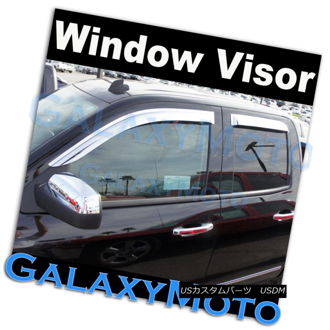 グリル 14-15 Silverado 1500 Extended Cab Chrome 4 Door Window Visor Rain Sun Guard Vent 14-15 Silverado 1500拡張キャブクロム4ドアウィンドウバイザーレインサンガードベント