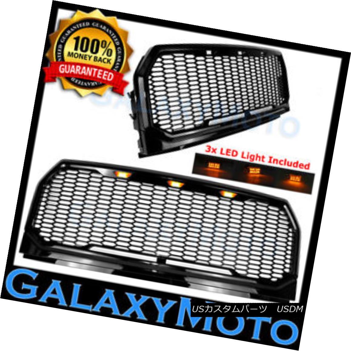 グリル 15-17 Ford F150 Raptor Style Black Front Hood Replacement Mesh Grille+Shell+LED 15-17フォードF150ラプタースタイルブラックフロントフード交換メッシュグリル+シェル+ L ED
