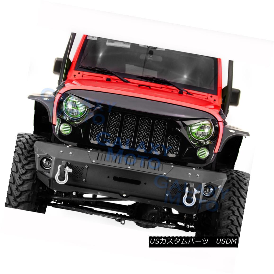 グリル New Angry Skull 2 Replacement Gloss Black Mesh Grille for 07-18 Jeep Wrangler JK 新しい怒っている頭蓋骨2交換グロス07-18ジープラングラーJKのための黒メッシュグリル