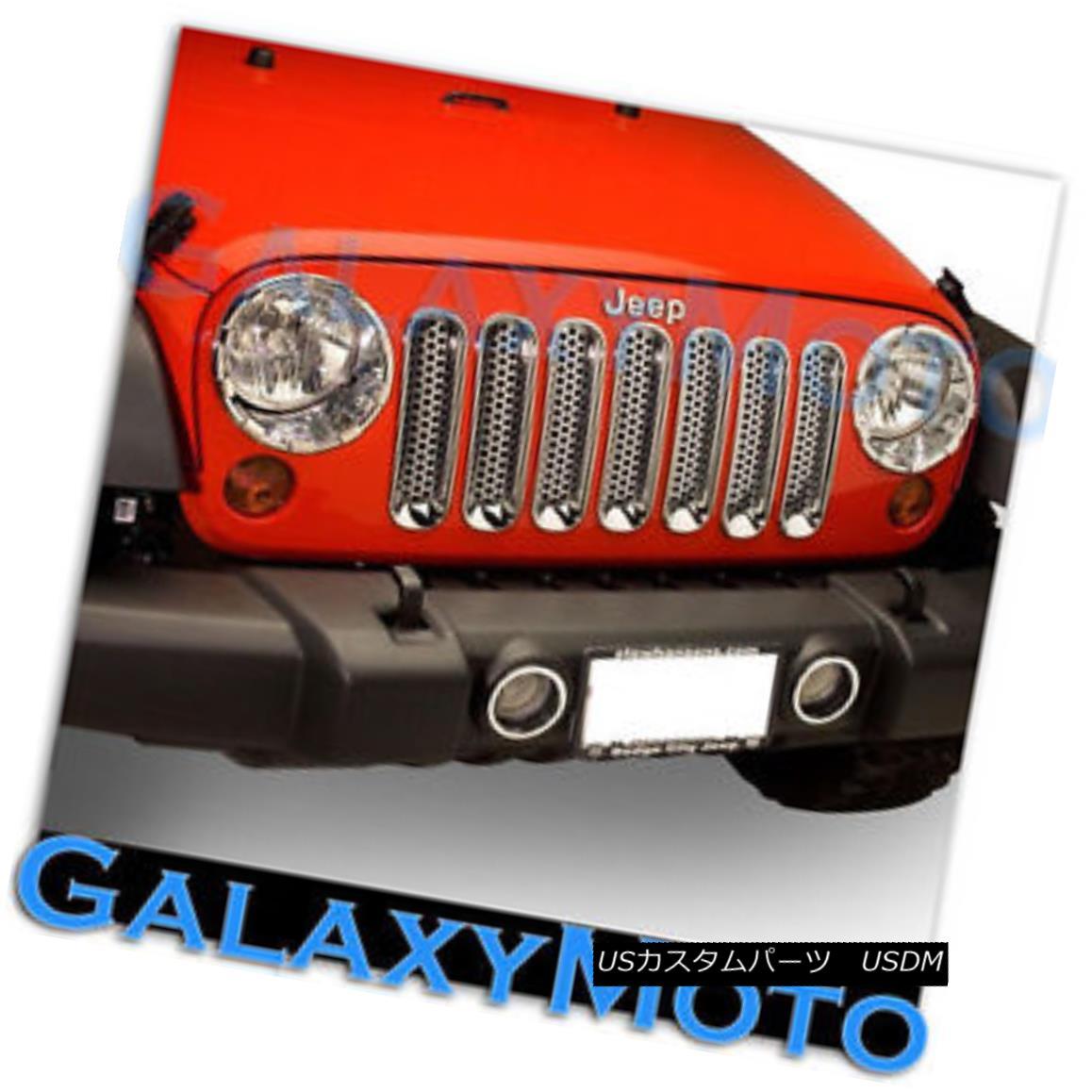 グリル Chrome Headlight+Front Mesh hole Grille Trim Insert Cover for 07-16 JK Wrangler クロームヘッドライト+フロン tメッシュホール07-16 JKラングラー用グリルトリムインサートカバー